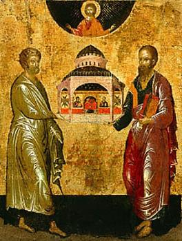 Orthodox icon: Ss. Peter and Paul: Having the Rock of Faith Holding Up the Church