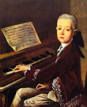 Mozart as a boy at the klavier