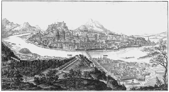 Salzburg: an engraving by Anton Amon, after Franz von Naumann, 1791