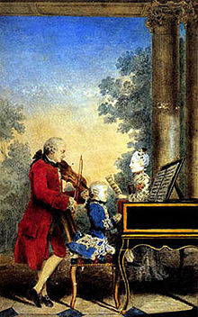 The Mozart family on tour. Watercolor by Carmontelle, ca. 1763