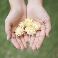 Girl's hands with flowers